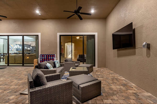 Watch your favorite TV shows under the covered lanai any time of the day