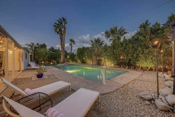 The private backyard is spacious and fun!