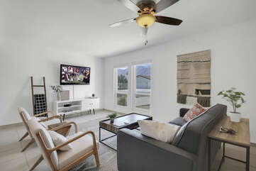 There is plenty of space in the living room to lounge in front of the 46-inch Vizio Smart television.