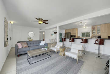Enjoy a family game night in this contemporary style family room.