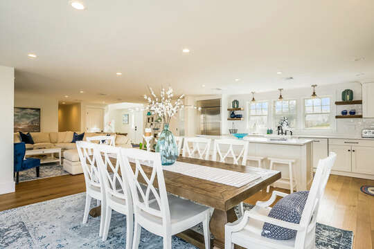 Open living area with dining for 8 at the weathered wood table - 74 E Bay View Road Dennis Cape Cod - New England Vacation Rentals