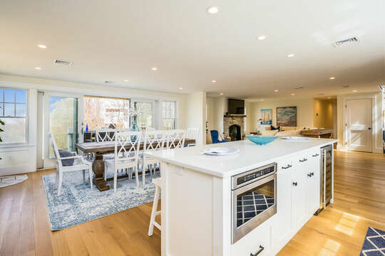 Kitchen open to dining area for effortless serving - 74 E Bay View Road Dennis Cape Cod - New England Vacation Rentals