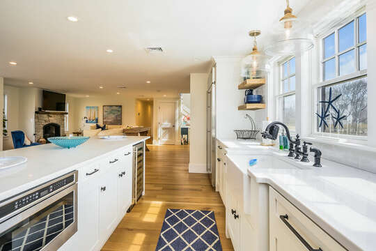 Microwave and wine fridge in the island - 74 E Bay View Road Dennis Cape Cod - New England Vacation Rentals