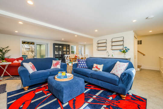 Super comfy couch and love seat in lower level entertainment room - 74 E Bay View Road Dennis Cape Cod - New England Vacation Rentals