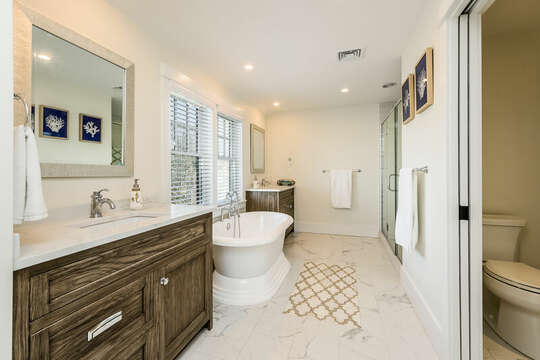 EnSuite bathroom to Bedroom #3 with soaking tub and glass enclosed shower - 74 E Bay View Road Dennis Cape Cod - New England Vacation Rentals
