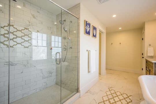 Walk in shower ensuite to Bedroom #3 - 74 E Bay View Road Dennis Cape Cod - New England Vacation Rentals