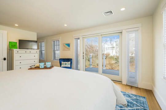 King bed and sliders to deck - 74 E Bay View Road Dennis Cape Cod - New England Vacation Rentals