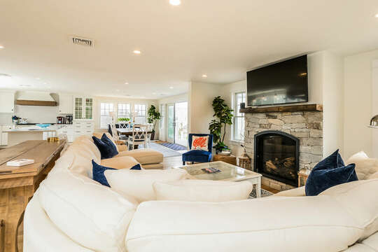 Large screen TV over fireplace - 74 E Bay View Road Dennis Cape Cod - New England Vacation Rentals