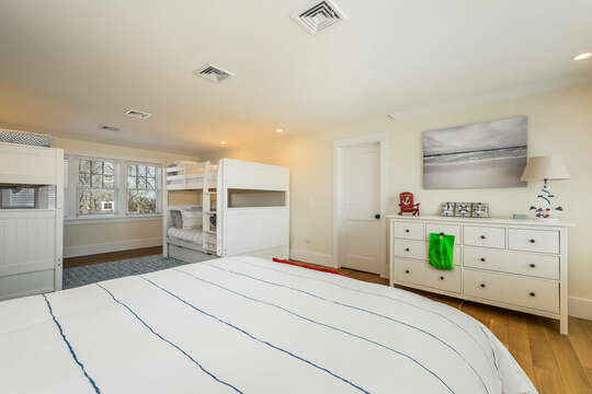 Bedroom #4 - sleeps 6!  Queen Bed and two Twin Bunkbeds - 74 E Bay View Road Dennis Cape Cod - New England Vacation Rentals