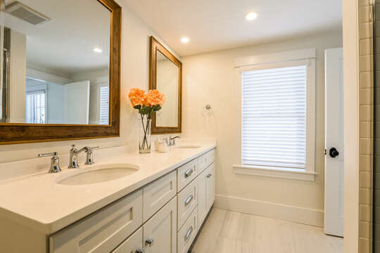 Double sinks and glass enclosed shower - 74 E Bay View Road Dennis Cape Cod - New England Vacation Rentals