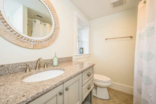 Lower level bathroom with tub/shower - 74 E Bay View Road Dennis Cape Cod - New England Vacation Rentals