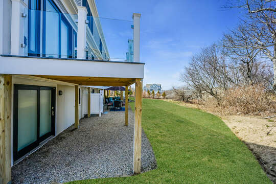 Lower level area with rocks and plenty of shade - 74 E Bay View Road Dennis Cape Cod - New England Vacation Rentals