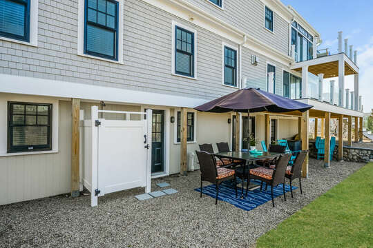 Outdoor shower - eating area - 74 E Bay View Road Dennis Cape Cod - New England Vacation Rentals