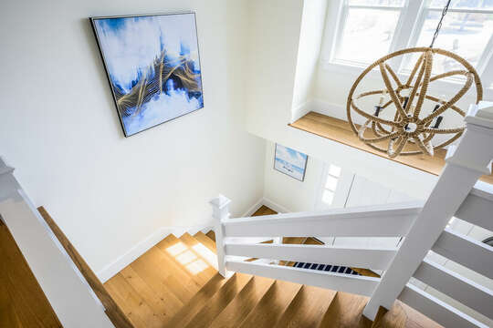 Nautical themed stairs to upper level - 74 E Bay View Road Dennis Cape Cod - New England Vacation Rentals