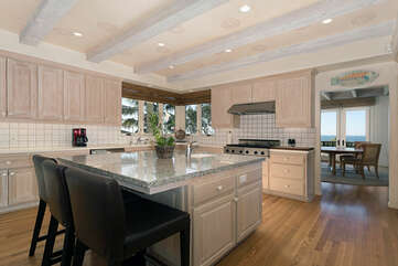 This kitchen is a dream for anyone who love's to cook.  Double ovens, dual range, large island and large built in refrigerator.