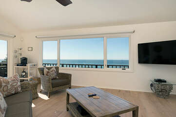 The Presidential Suite has a large wrap around patio, ocean views and sitting area. This area also features an HD TV with Roku for streaming applications and a beverage cart.