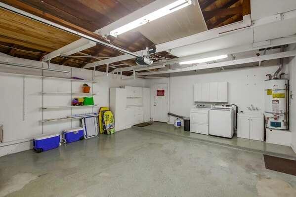 Garage Interior with Beach Gear and Washer/Dryer