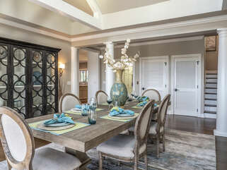 Dining room with seating for 8 people.