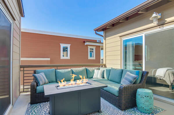 Private Outdoor Living Room with Fire Pit and TV - Third Floor