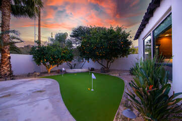 Challenge a friend on the three hole putting green.