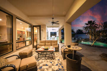 The outdoor lounge area is the perfect spot to enjoy a snack.
