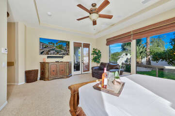 The Master Suite 1 has access to the back patio.
