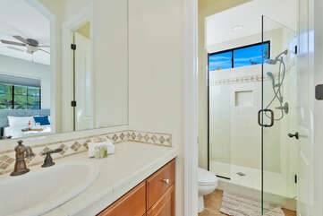 The en suite bathroom features a tile shower and a vanity sink.