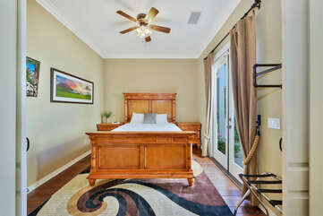 Bedroom 4 is located next to the front door and features a Queen-sized Bed, 40-inch TCL with Roku Smart television.