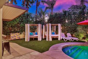 The elegant style cabanas will make you feel like you are on the Las Vegas strip enjoying a cocktail.