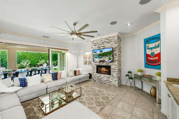 The large, open floor plan is the best spot to hang out with the whole family.