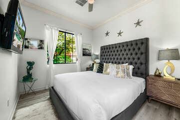 Casita Suite 3 is located to the left of the front door from the courtyard and features a Cal King-sized Bed, 40-inch Emerson HD television and a private, en suite bathroom.