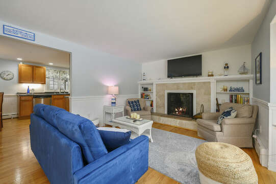 Living room with couch and 2 comfy chairs at-50 Foster Road Hyannis Cape Cod- New England Vacation Rentals