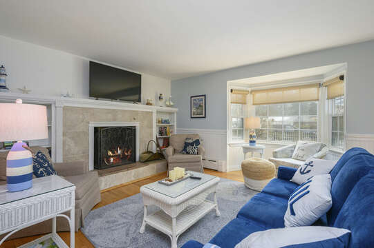 Living room with ample seating and large flat screen tv-50 Foster Road Hyannis Cape Cod- New England Vacation Rentals