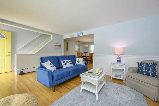 Living room with view of stairs to second floor-50 Foster Road Hyannis Cape Cod- New England Vacation Rentals