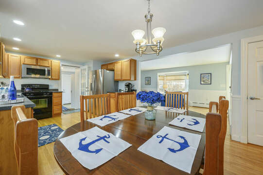 Dining area with plenty of room for the family-50 Foster Road Hyannis Cape Cod- New England Vacation Rentals