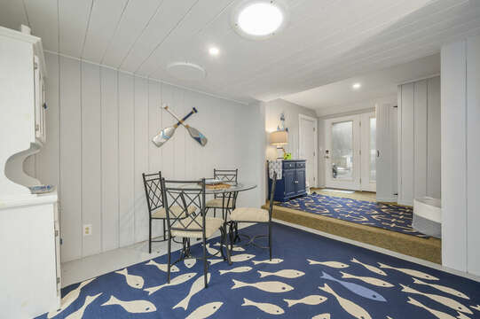 Enter this home via this fun coastal accented sun room-50 Foster Road Hyannis Cape Cod- New England Vacation Rentals