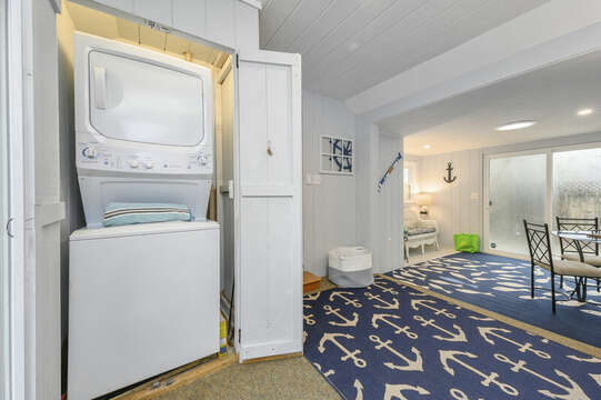 Stackable washer/dryer located in the sunroom- 50 Foster Road Hyannis Cape Cod- New England Vacation Rentals
