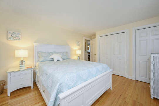 Bedroom #2 Queen bed double closets and dresser-50 Foster Road Hyannis Cape Cod- New England Vacation Rentals