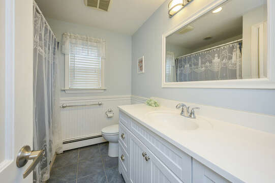 Bathroom #1 full with shower / tub combo-50 Foster Road Hyannis Cape Cod- New England Vacation Rentals