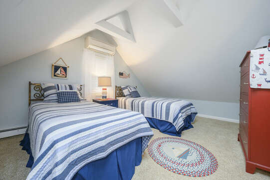 Bedroom #3 upstairs- 3 Twin beds  dresser, nightstand and fun coastal accents-50 Foster Road Hyannis Cape Cod- New England Vacation Rentals