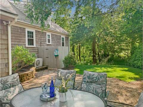 Outdoor shower with a peak of the stream-50 Foster Road Hyannis Cape Cod- New England Vacation Rentals