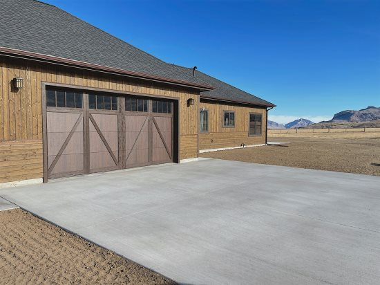 Garage and large parking area