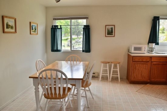 Large sunny dining area in kitchen