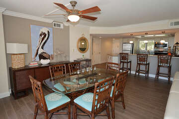 Great pelican art in dining area, and counter seating