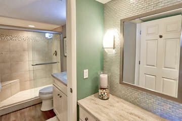 Master bathroom with large walk in shower and separate vanity area