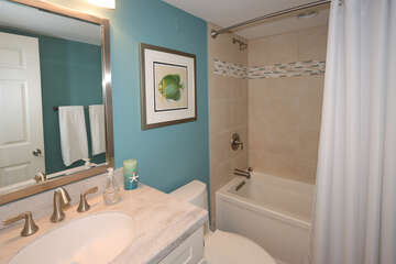 Guest bathroom with tub/shower combination