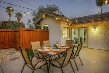 Conveniently located near the kitchen, this patio table will be the gathering spot for the whole family.