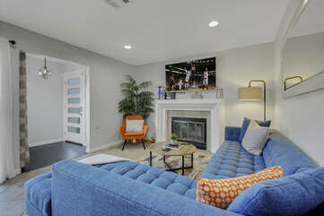 Enjoy a family movie night in the spacious living room.