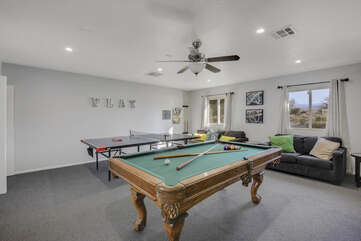The game room will be the main spot for indoor entertainment, enjoy the pool table and ping pong table.