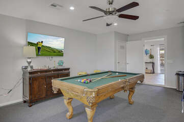 Challenge friends and family to a game of pool while in front of the 40-inch JVC HD television.